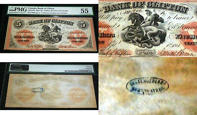 1861 $5   PMG 55- CHARTERED BANKNOTE - , BANK OF CLIFTON - Sassenberg overprint