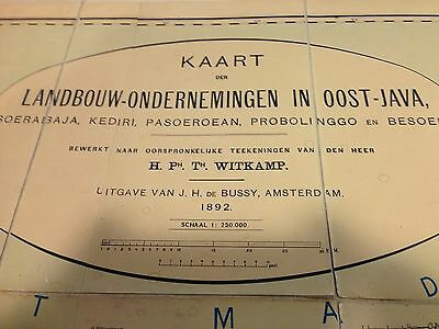 Netherlands Indies Map of East Java 1892 (1.44m x 0.75M) foldable on Linnen