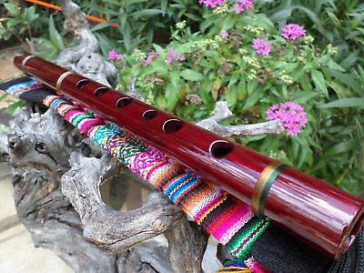 NATIVE AMERICAN FLUTE  WOOD & INDIAN  EMBROIDERED CASE TUNED IN (G) 440-hz  NEW