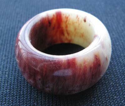 aged. rare  natural  red jade hand carved  man band ring size12.5