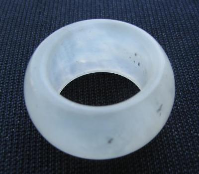 aged. rare  natural AA clear jade hand carved  man band ring size9.5