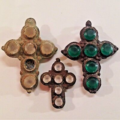 Lot 3 Ancient Bronze Cross Green Glass Inlay Byzantine Artifact Ancient Cross