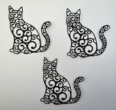 Cat Intricate Fancy Large Paper Cardstock Die Cut 3 Pcs Cardmaking Scrapbooking