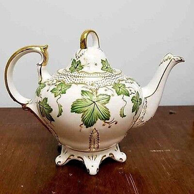 Royal Chelsea Teapot With Hand Painted Green Leafs With Painted Gold Accents