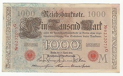 1910 German Reichsbanknote One Thousand 1000 Mark - Red Serial & Seal Great Cond