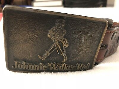 "Men's Vintage Johnnie Walker Red Belt And Buckle 37"" Free Shipping"