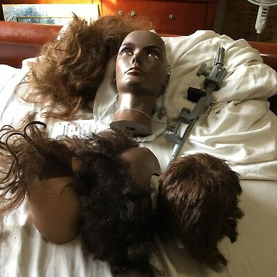 Mannequin Head With Four Wigs  Of Real Hair & Stand