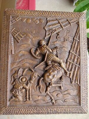 Antique terrific Black Forest style hand carved wooden plaque of Don Quixote, nr