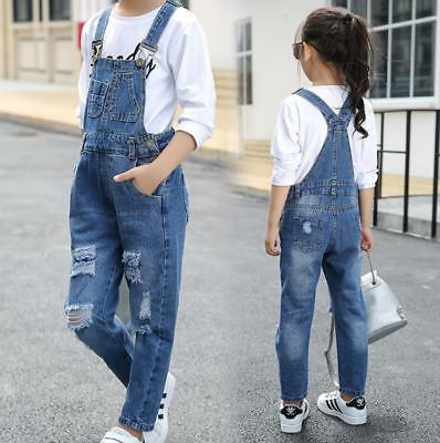 Girls Summer Ripped Slit Cropped dungarees Denim Pants Jeans Trousers Hot Kids