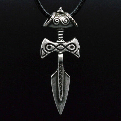 Antique Silver Viking Sword Pendant Necklace Amulet of Talos Handmade Pendant