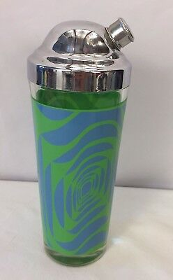Vintage Mid Century Modern Psychedelic Green Blue Cocktail Shaker