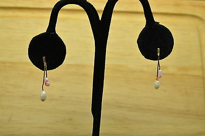 14K Yellow Gold White & Pink Natural Pearl Dangling Post Earrings #x14-0469