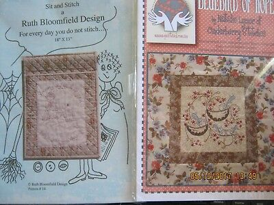 2 patterns sit and stitch embroidery bluebird of hope block Patchwork/quilt/
