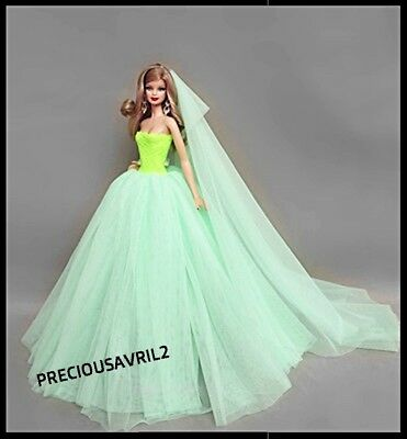 New Barbie doll clothing outfit princess wedding green evening dress & veil.