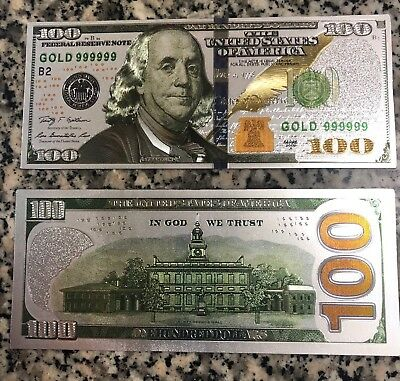 Authentic Silver Foil $100 Dollar Bill Banknote - Novelty Bill