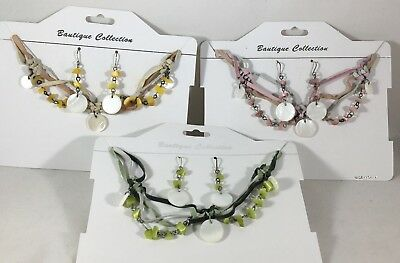 NEW Mother-of-Pearl Shell Necklace & Earring Set Green Pink Yellow 3 sets #G52