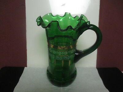 Beautiful Hand Blown Victorian Green Glass Pitcher W/white Enamel & Gold Accent