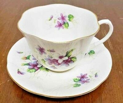 Royal Albert Fine Bone China Cup and Saucer Set With Sprays of Violets