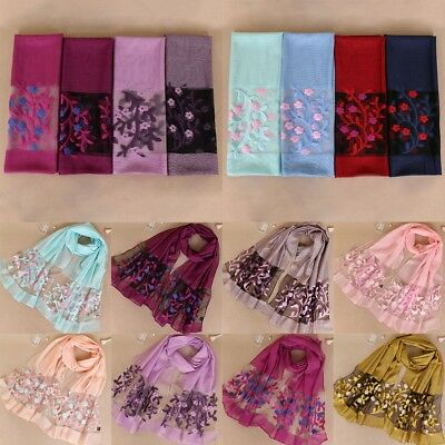 Women Long Embroidered Floral Linen Floral Scarf Pashmina Wrap Shawl Scarves Lot