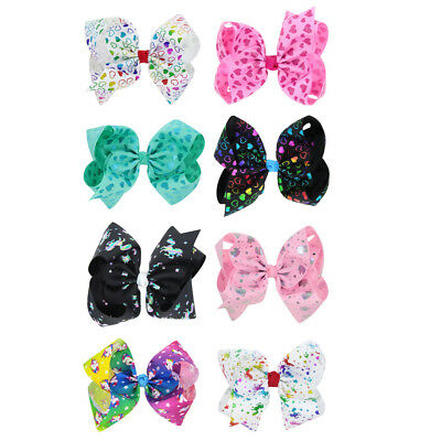 Sweet Baby Newborn Infant Kids Girls Bow Bowknot Hair Clips Hairpin 8 Inch