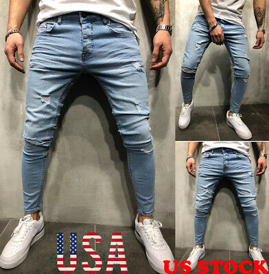 Mens Stretchy Skinny Biker Jeans Destroyed Tapered Slim Fit Denim Pants US STOCK