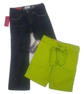 Girls Size 4/5 Lot Bootcut Denim Jeans & Green Polkadot Bermuda Shorts Adj Waist