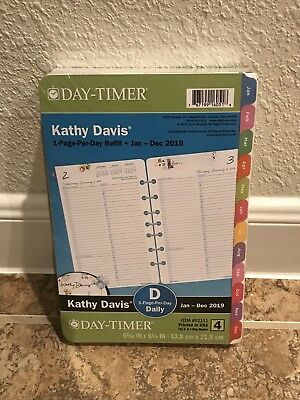 Day-Timer 2019 Planner Refill 1 Page Per Day Kathy Davis Floral Daily Size 4