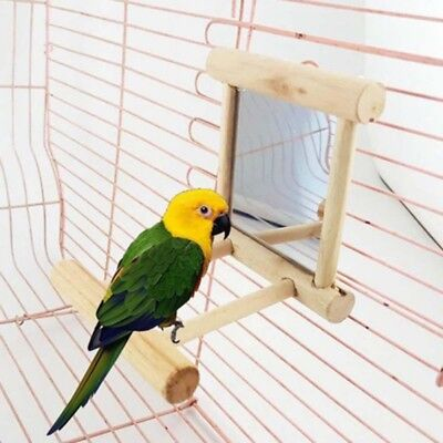 AU Pet Parrot Bird Animal Wooden Mirror With Bells Toy Fun Cage Hanging Stand