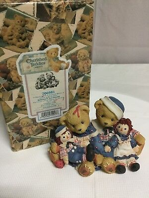 """Enesco Cherished Teddies """"A Hug Is Worth A Thousand Words"""" Raggedy Ann and Andy"""