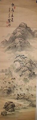 Korean Original Painting (mountain landscape in the spring of Korea and fishers)