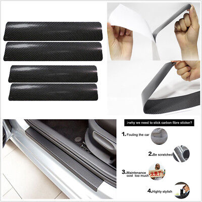 4xCar Door Sill Scuff Welcome Pedal Protect Carbon Fiber Stickers Accessories 3D