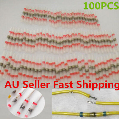 100pcs Red Heat Shrink Solder Sleeve Seal Wire Splice Butt Connector AWG 22-18GA