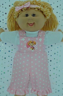 "PlaynWear Doll Clothes For 16"" Cabbage Patch POLKA DOT BIB DUNGAREE~TOP~HEADBAND"