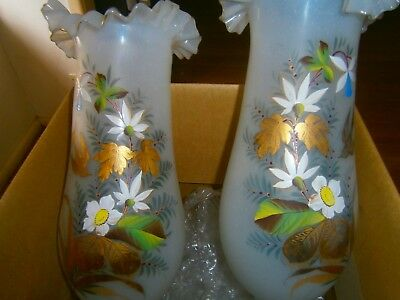 Victorian Vases Hand Painted ,v G Condition
