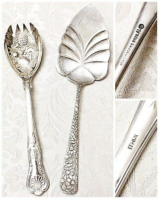 Mixed Lot of 2 1847 Rogers Bros. Silver Plated Cake Knife and Salad Fork, Italy