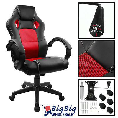 [RED] Gaming Leather High Back Executive Office Desk Computer Chair Bucket Seat