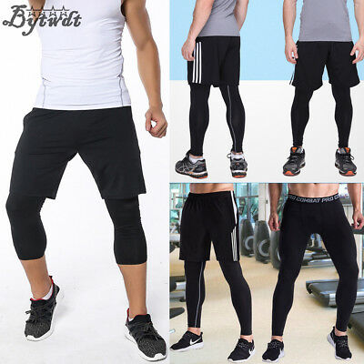 Men Gym Fitness Cropped Leggings Compression Base Layer Workout Skin Tight Pants