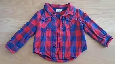 Cotton On Kids Red Check Long Sleeve Shirt Size 1 Good Condition