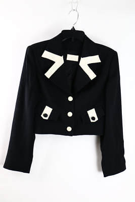 Vintage Cache Black Warm White Long Sleeve Single-Breasted Blazer 10