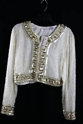 Vintage Laurence Kazar Ivory Silk Bead Sequin Embellished Evening Jacket XL