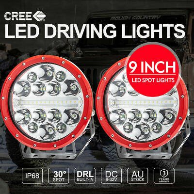 2x 9inch CREE SPOT LED Driving Lights 4x4 Round Spotlights BLACK With DRL 12V24V