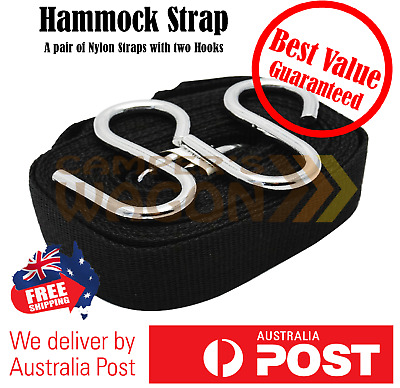 Hammock Bed Nylon Strap Rope Outdoor Camping Hanging Strap with Hooks