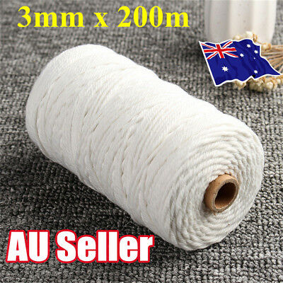 3mm 100% Natural White Cotton Twisted Cord Craft Macrame Artisan String HOT EA