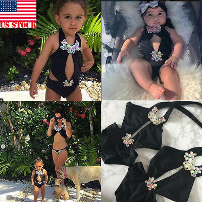 Women's Fashion Chic Parent-child Black Bikini Swimsuit Mother Daughter Bandage
