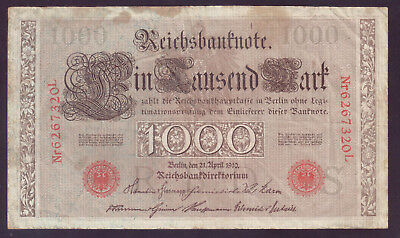 1910 Germany 1,000 Mark (red seal) P.44b