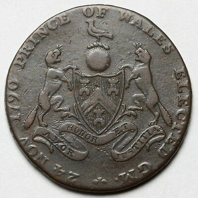 1794 Masonic Middlesex Great Britain Copper Halfpenny Half Penny Token Coin
