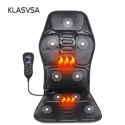 Heated Body Massager Cushion Seat Car Vibration Chair Back Lumbar Neck Pad