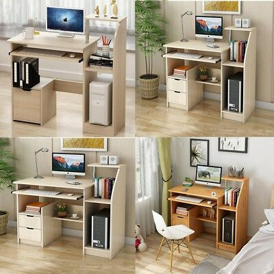 Home Computer PC Desk Shelf Cupboard Drawers Study Writing Table Storage Office