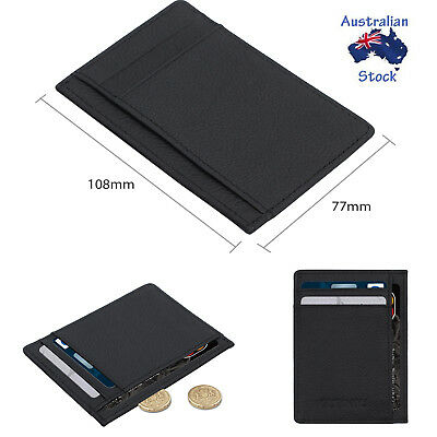Slim Wallet Money pouch Mens Womens Black Leather Credit Card Holder 6 Slots