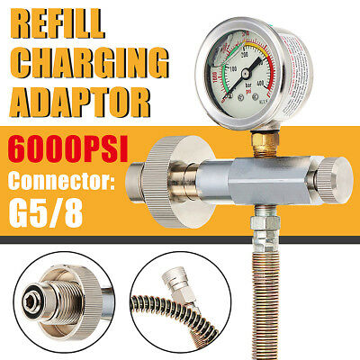 400bar/6000PSI Paintball PCP Fill Station Adaptor Converter G5/8 With Gauge Hose
